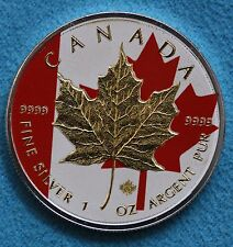 2014 Canadian Red Coloured Gold Gilded Silver Maple Leaf Coin