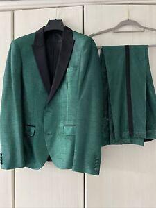 ASOS Green Black Metalised Fabric Suit, Size 38 Short