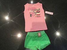 NUOVA CON ETICHETTA Juicy Couture ragazze età 8 Verde Shorts di cotone & Rosa