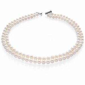 Pearl Choker Necklace Double Strand of Cultured Pearls Sterling Silver