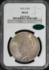 1922-S Silver Peace Dollar NGC MS-62 CAC Pastel Rainbow -171828