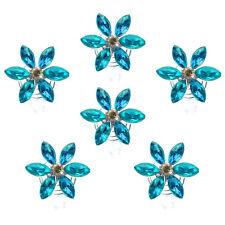 6 spirales twister cheveux mariage mariée fleur strass bleu turquoise et irisé