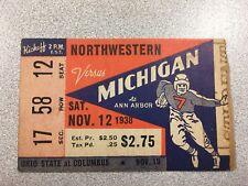 Michigan vs. Northwestern 1938 Football Ticket Stub- RARE!