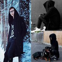 Fashion Unisex hooded jacket long cardigan black ninja goth gothic punk hoodie