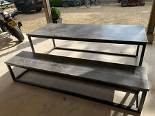 More details for commercial table and bench set grey tops high quality black powder coated