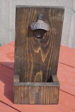 Handmade Rustic Wood Standing / Wall Mount Bottle Opener w Cap Catcher Beer Gift
