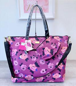 Luv BETSEY JOHNSON Purple Floral Weekender Tote Bag Mauve Jaycee LBJAYCEE