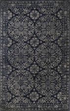 5x8 Surya Handmade Wool Blue Leaves Vines 2112 Rug - Approx 5' x 8'