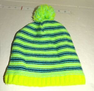 Safety Green Navy and Light Blue Fleece Lined Big Girl's 1 Size Stocking Cap
