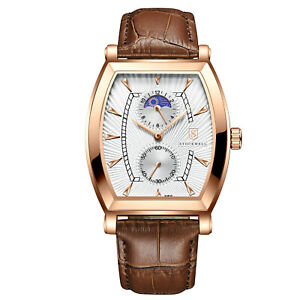 MENS STOCKWELL MOON PHASE WATCH WITH SUB DIALS BLUE DIAL LEATHER STRAP GIFT BOX