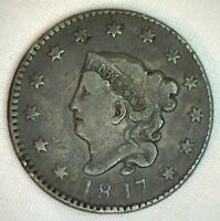 1817 Coronet Large Cent US Copper Type Coin 13 Stars VF Very Fine K17