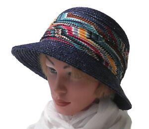 Damen eleganter Strohhut SEEBERGER Blau  Anlasshut Sonnenschutz UV 50+