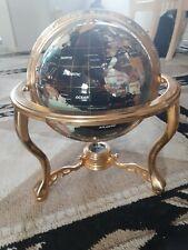 "13"" Black Onyx ocean Gold 4- leg table stand Gem MOP Gemstone World MAP globe"