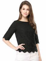 Allegra K Women's Elbow Sleeves Round Neck Embroidery Blouse ~ Black ~ M US 10