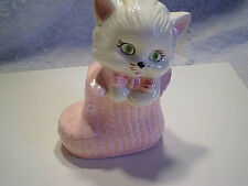 KITTEN WHITE PINK CERAMIC BANK,Kitty,Cat,Vintage,boot,booty,tie,old,green eyes