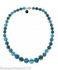 NEW JILZARAH Graduated Clay Beads AZTEC Blue Long Necklace Magnetic
