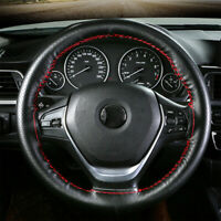 Universal Black red Genuine Leather Car Steering Wheel Cover Case Needles Thread