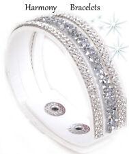 White Swarovski Elements Single Glamour Bracelet by Harmony Bracelets