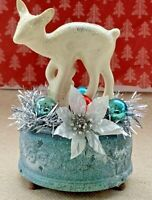 Vintage Mid Century Christmas Ceramic Deer Musical Box Assemblage Decoration