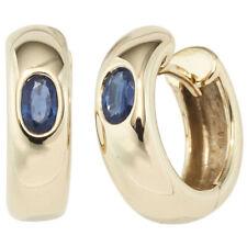NEU 15 mm Edelstein Creolen 585er Gold 14 Karat Gelbgold Ohrringe Saphire blau