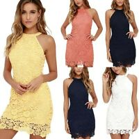 Womens Mini Dress Halter Neck Dress Lace Crochet Floral Cocktail Party Clubwear