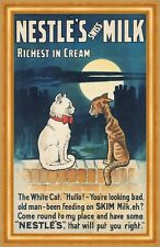 Nestles swiss Milk william true CHATS Affiche publicité proverbes Lune B a3 03532