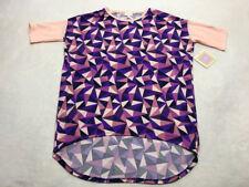 NWT Lularoe XXS Peach Purple Triangle Patchwork Solid Sleeve Irma Tunic Shirt