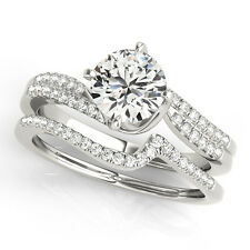 14K White Gold Ring Size 5 7 Solitaire Engagement Band Set 0.48 Ct Diamond Ring