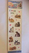 I love you stickers pack 2 sheets rabbit guinea pig dog cat squirrel