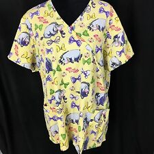 Disney Scrub Top Eeyore 2X Oh Bow Is Me Yellow 3 Pocket Lightweight Hearts Vneck