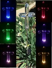 Solar Memorial Cemetery Cross Garden Stake Lawn Lamp Color Change Yard LED Light