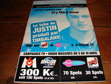 JUSTIN TIMBERLAKE CRY ME A RIVER!!RARE FRENCH PRESS/KIT