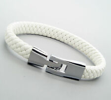 Unisex Genuine Leather Stainless Steel Clasp Bracelet Snap Lock Clasp White L91