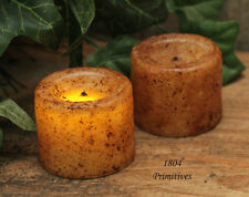 2 Petite Grungy Waxed VOTIVE Candles - Burnt Ivory / Cinnamon