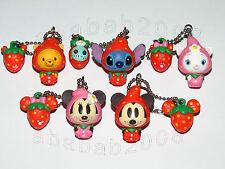 Yujin Disney Strawberry Mickey Pooh stitch keychain figure gashapon set (5 pcs)