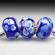 5pcs Hot Silver Murano Glass Lampwork Beads Fit European Charm Bracelet LB0049