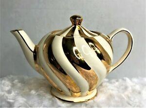 Vintage Sadler England Teapot Cream w/ 22 Kt. Gold Swirls Initialed