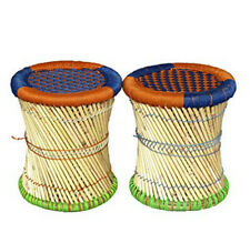 Handmade Wood Stick Stool Poufs Colorful Rope Handcrafted Seating Rajasthani Art