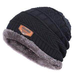 Winter Hat Beanie Men Cap Knit Warm Solid Black Velvet  Skull  Plain Mask  Men's
