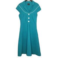 Folter Medium ModCloth Blue Sailor Midi Dress Retro White A line Buttons Collar