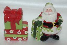 New! Fitz & Floyd Holiday Cheer Santa Present Xmas Tree Salt & Pepper Shaker Set 00004000
