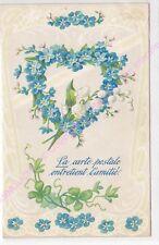 CPA GAUFREE EMBOSSED La carte postale entretient l'amitié muguet coeur fleurs