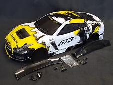 """RC Car carrocería 1:10 """"Nissan GTR r35"""" amarillo Weiss, Drift 190mm ancho # jlr29"""