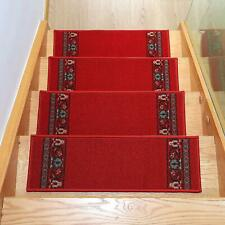 13 Pcs Stair Treads Non Slip Indoor Stair Mat Floral Design 8.5x26 In Red