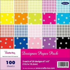 """Pk 20 x 6"""" x 6"""" SAMPLE Paper Stack Gingham and flowers papers for cards/crafts"""