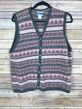 Pendelton Women L Tall Lambswool Sweater Vest V Neck Button Front Pink Fair Isle
