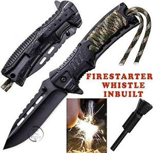 Survival Hunting Camping Folding Pocket Knife Paracord Fire Starter Whistle AU