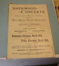1886 William Sherwood Grand Piano Concert Program Chicago Illinois Henry Miller