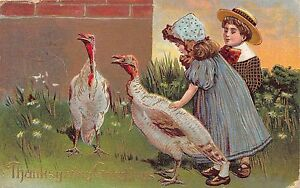 B56/ Thanksgiving Holiday Postcard 1909 Kids Hat Turkeys Gold Lined 1