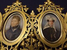 MINIATURE PORTRAIT CAPTAIN DONALD MACLEOD & CAROLINE PYE BENNETT FILIGREE FRAME